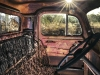 The interior of an Ford truck photographed in the vehicle scrapyard of Tom Prior Motors in the Outback town of Chillagoe.