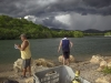An approaching storm comes over the lagoon and river at La Boca near Trinidad on the Ancón Peninsula.