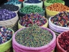 A potpouri of colour is displayed in front of a shop in the Assouel area of the Marrakech Medina.