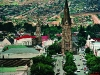 View from Rhodes University clock tower down High Street. Grahamstown. Eastern Cape. South Africa. '99.