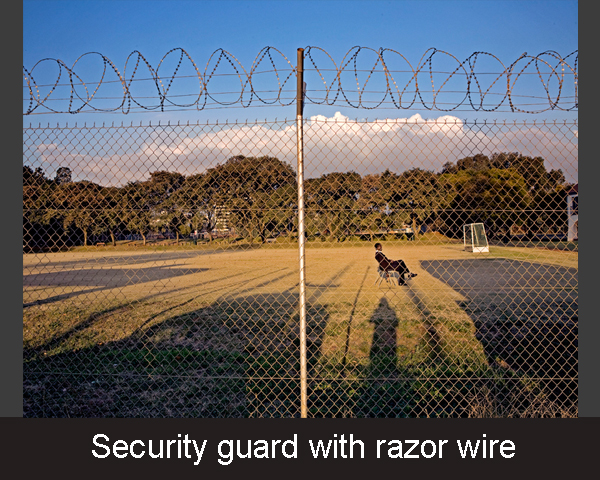 4. Security guard with razor wire