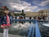 A young girl stand at the fountains in front of the Gyumri City Hall. Gyumriis the second largest city in Armenia and the capital of the Shirak Province in the northwestern part of the country. As of the 2011 census, the city had a population of 121,976, down from 150,917 reported at the 2001 census. Its name has been changed several times. It was originally founded as Kumayri, later re-founded as Alexandropol between 1837 and 1924 during the Russian rule, then Leninakan between 1924–90, then as Gyumri.