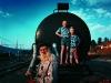 Retired railway worker Andries Oelofse and grandchildren Chrisjan and Christoffel. Watervalboren. Mpumalanga. S.A.'99.